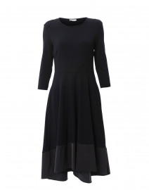 Navy Jersey Dress with Taffeta Hem