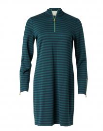 Navy and Hunter Green Striped Stretch Ponte Dress
