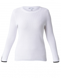 Optic White Cotton Sweater with Black Trim