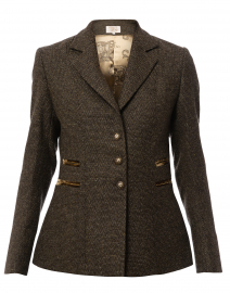 Mariane Brown Herringbone Tweed Jacket