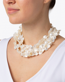 Kenneth Jay Lane - Mother of Pearl Shell Three Row Necklace