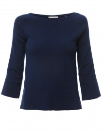 Navy Cotton Sweater with White Contrast Trim