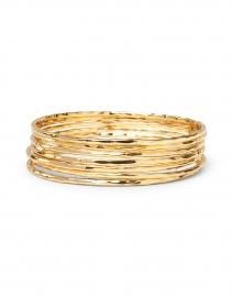 Nest - Hammered Gold Skinny Bangle Set