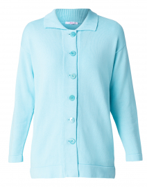 Light Turquoise Cotton Knit Cardigan