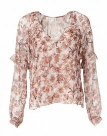Zanita Floral Print Silk and Lurex Top with Cami
