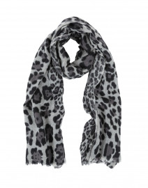 Grey Animal Printed Wool Cashmere Scarf