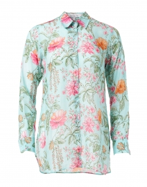 Turquoise and Pink Floral Printed Shirt