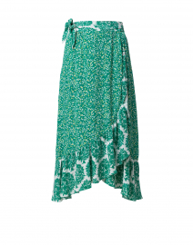 Elena Green and White Wrap Silk Skirt