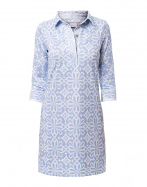 Pale Blue Piazza Printed Jersey Henley Dress