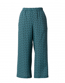 Zampata Jade Blue Print Silk Pull On Pant