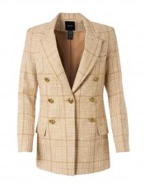 Camel Plaid Cotton Linen Blazer