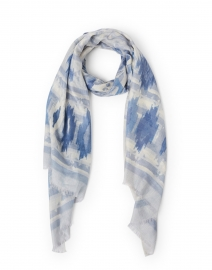 Blue and White Ikat Print Silk Cashmere Scarf