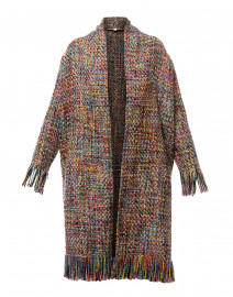 Brooke Multicolored Tweed Fringe Coat