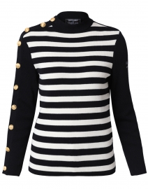 Amphitrite Navy and Ivory Striped Sweater