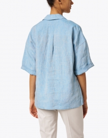 Lafayette 148 New York - Pippen Blue Linen Blouse
