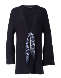 Navy Knit Cardigan with Scarf Closure