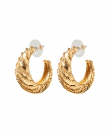 June Gold Textured Hoop Earrings