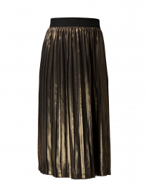 Bronze Metallic Pleated Pull On Midi Skirt