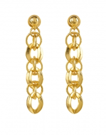 Kenneth Jay Lane - Gold Circular Rounded Chain Link Drop Earrings