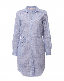 Ava Blue Chevron Cotton Shirt Dress