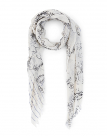 White and Black Floral and Stripe Silk Cashmere Scarf