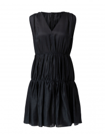 Lema Black Voile Plisse Tiered Dress