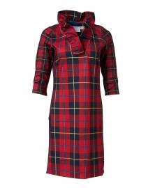 Plaidly Red Plaid Ruffle Neck Dress