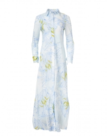 Kathe Light Blue Birds of Paradise Cotton Voile Shirt Dress