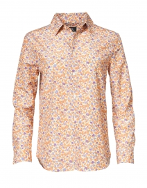 Gina Orange Floral Printed Cotton Silk Shirt