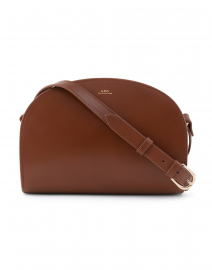 Cognac Demi Lune Leather Crossbody Bag