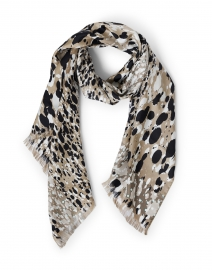 Mazurca Beige Dot Animal Print Silk Scarf