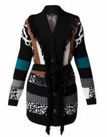 Black, White, Camel and Teal Patchwork Cardigan