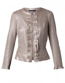 Metallic Stone Ruffle Front Jacket