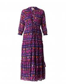 Brenda Pink and Purple Tile Print Cotton Dress