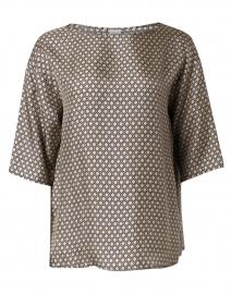 Fortuna Turtledove Grey Geo Print Silk Top