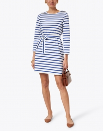 A.P.C. - Dark Blue and White Striped Jersey Dress