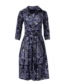 Audrey Navy Rose Macrame Stretch Cotton Dress