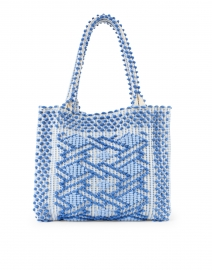 Casa Isota - Ava Lapis Periwinkle and Ecru Geo Woven Cotton Shoulder Bag