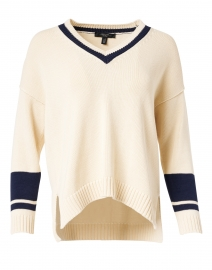 Bird Beige and Navy Striped Cotton Sweater