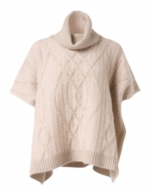 Natural Cashmere Cable Poncho Sweater