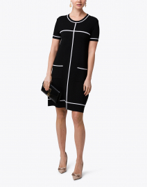 Black Shift Dress with White Trim