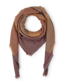 Brown, Burgundy, and Orange Houndstooth Wool Scarf