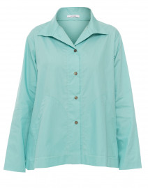 Aqua Blue Button Front Cotton Poplin Tunic