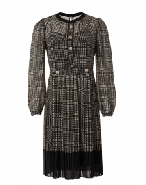 Lyra Black and White Houndstooth Check Pleated Dress