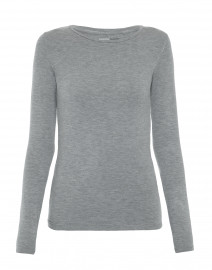 Grey Crew Neck Long-Sleeved Stretch Viscose Top