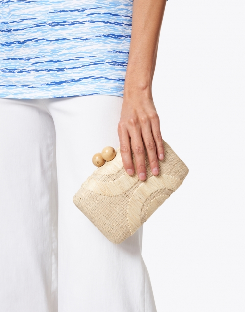 Kayu - Ottis Geometric Embroidered Natural Raffia Clutch