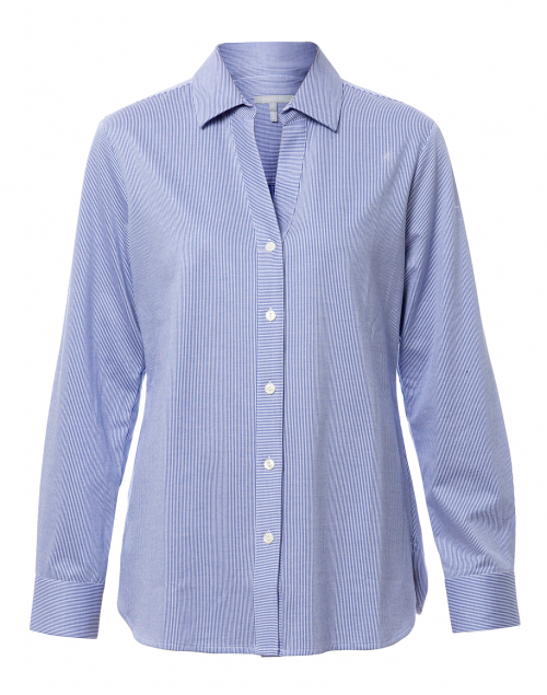 Hinson Wu - Bridgette White and Blue Striped Button Down Shirt