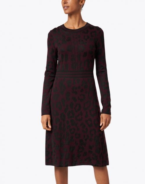 Marc Cain - Plum and Black Animal Print Knit Dress