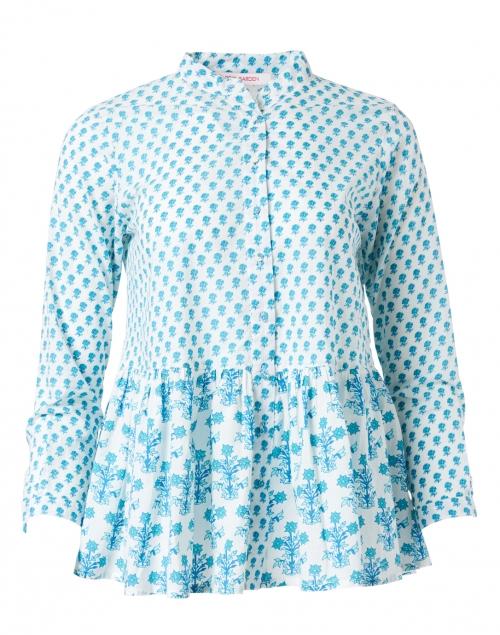 Ro's Garden - Chanderi Turquoise Floral Cotton Top