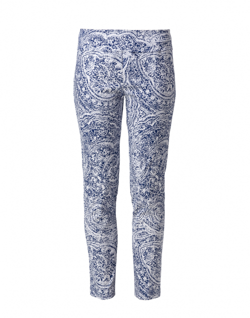 Elliott Lauren Blue and White Sandcastle Paisley Pull On Ankle Pant